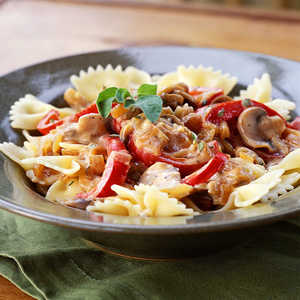 Pasta with Caramelized Onions, Mushrooms, and Bell PepperRecipe