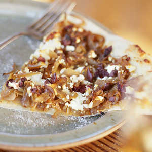 Pizza with Caramelized Onions, Feta, and OlivesRecipe