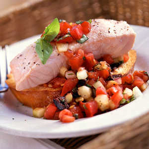 Chilled Poached Salmon with PanzanellaRecipe