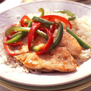Glazed Turkey Cutlets and Bell Peppers Recipe