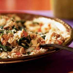 Pilaf with Chicken, Spinach, and WalnutsRecipe