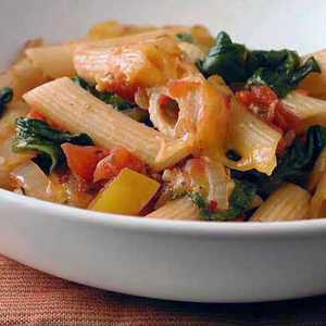 Ziti Baked with Spinach, Tomatoes, and Smoked GoudaRecipe