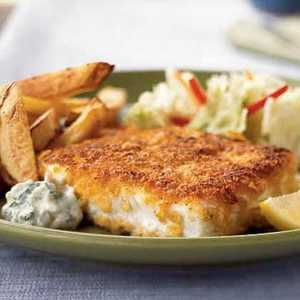 <p>Cornflake-Crusted Halibut with Chile-Cilantro Aioli</p>