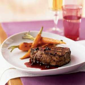 Filet Mignon with Red Currant-Green Peppercorn SauceRecipe