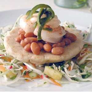 Green Chile Sopes with Chipotle Mayonnaise, Shrimp, and Pineapple SlawRecipe