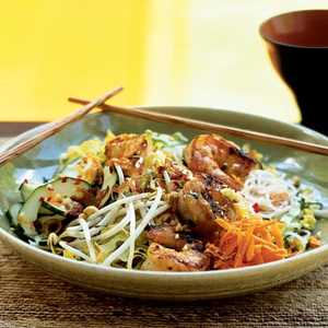 Lemongrass Shrimp over Rice Vermicelli and Vegetables (Bun Tom Nuong Xa) Recipe