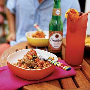 Mofongo Relleno de Pollo Guisado (Plantains and Pork Cracklings with Stewed Chicken)Recipe