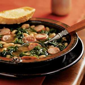 Cannellini Stew with Sausage and Kale and Cheese ToastsRecipe