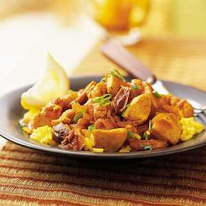 Saffron Chicken and Rice with DatesRecipe