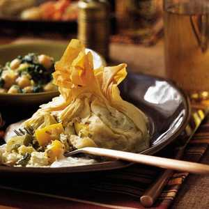 Phyllo Purses with Roasted Squash, Peppers, and ArtichokesRecipe
