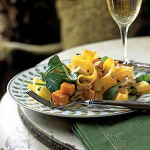 Pappardelle with Roasted Winter Squash, Arugula, and Pine NutsRecipe
