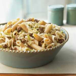<p>Whole Wheat Pasta with Sausage, Leeks, and Fontina</p>