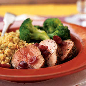 <p>Roasted Pork Tenderloin Medallions with Dried Cranberry Sauce</p>