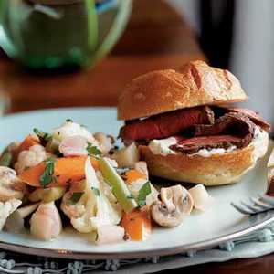 Cognac-Marinated Beef Tenderloin Sandwiches with Horseradish CreamRecipe