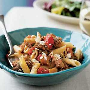 <p>Penne with Sausage, Eggplant, and Feta</p>