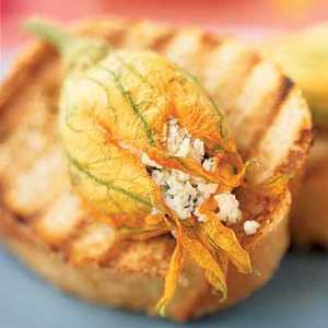 Stuffed Squash Blossom Bruschetta Recipe
