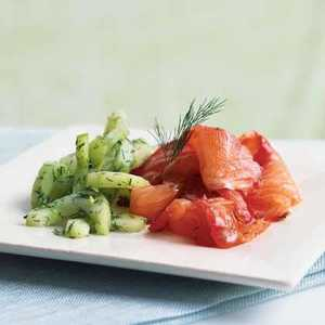 Dill and Beet-Cured Salmon with Cucumber SaladRecipe