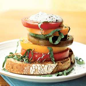 Stacked Heirloom Tomato Salad with Ricotta Salata CreamRecipe
