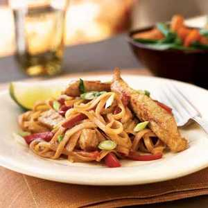 Pork Strips with Peanut Sauce and Rice NoodlesRecipe