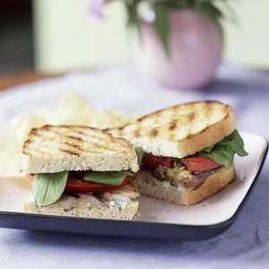 Grilled Eggplant and Tomato Sandwiches with Roquefort DressingRecipe