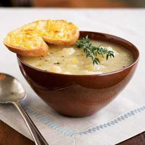 <p>Golden Potato-Leek Soup with Cheddar Toasts</p>