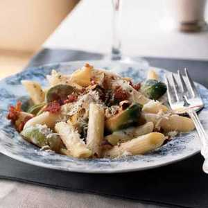 Penne with Brussels Sprouts and Crisp BaconRecipe