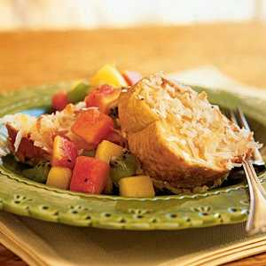 Baked Coconut French Toast with Tropical Fruit CompoteRecipe