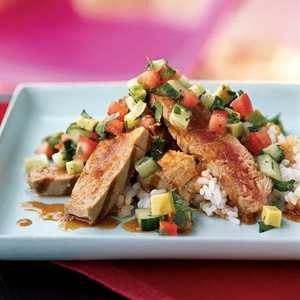 <p>Grilled Tuna with Chipotle Ponzu and Avocado Salsa</p>