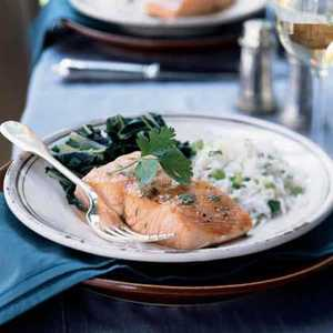 Slow-Roasted Salmon with Bok Choy and Coconut RiceRecipe