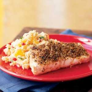 <p>Grilled Grouper with Browned Butter-Orange Couscous</p>