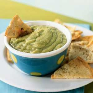 Avocado-Tomatillo Dip with Cumin Pita ChipsRecipe