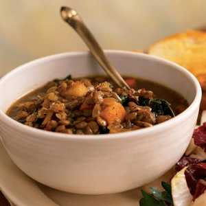 Lentil Soup with Balsamic-Roasted Winter VegetablesRecipe