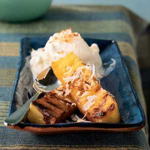 <p>Rum-Spiked Grilled Pineapple with Toasted Coconut</p>
