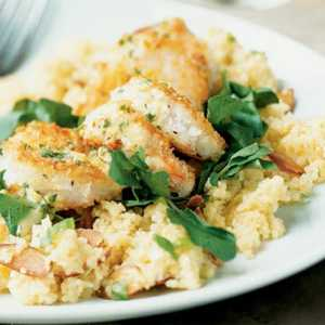 Crunchy Shrimp with Toasted Couscous and Ginger-Orange SauceRecipe