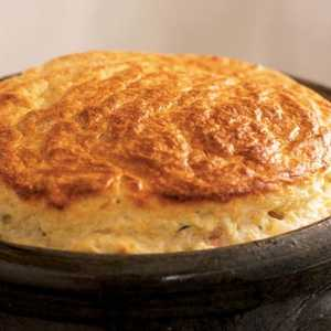 Ham and Two-Cheese Spoon Bread Recipe