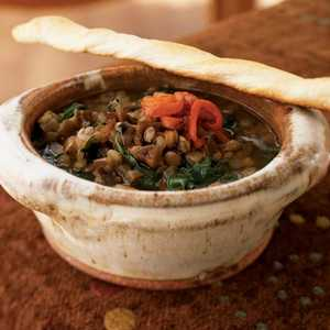 Lentil and Spinach Soup with Roasted Red Pepper and Pomegranate Molasses Recipe