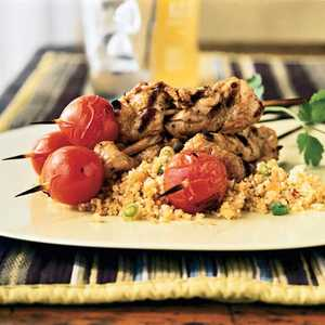Spice-Rubbed Pork Skewers with TomatoesRecipe