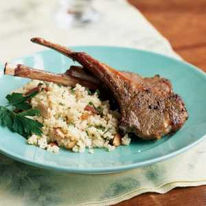 Lamb Rib Chops with Raisin-Almond CouscousRecipe