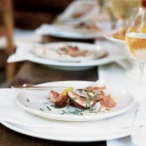 Figs and Prosciutto with Mint and Shaved Parmigiano-ReggianoRecipe
