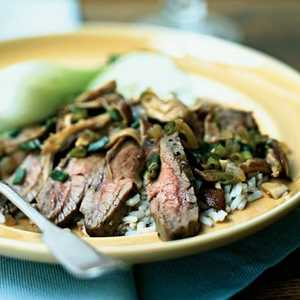 <p>Flank Steak with Shiitake Mushroom Sauce</p>