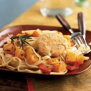 Baked Goat Cheese and Roasted Winter Squash over Garlicky FettuccineRecipe