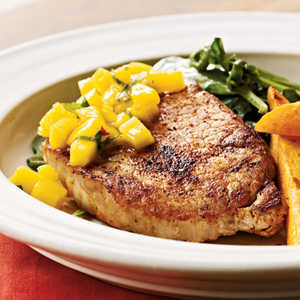 <p>Spiced Chops with Mango-Mint Salsa</p>