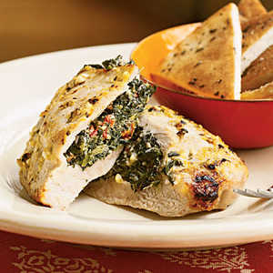 <p>Pork Chops Stuffed with Feta and Spinach</p>