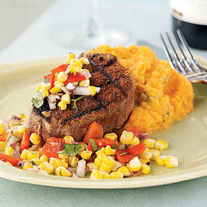 Chile-Rubbed Steak with Corn and Red Pepper RelishRecipe