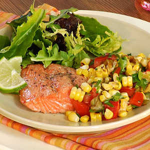 <p>Grilled Salmon with Roasted Corn Relish</p>