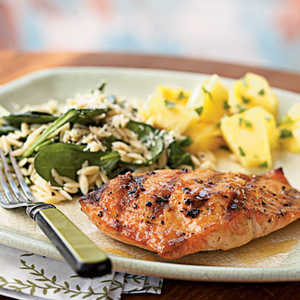 <p>Grilled Salmon with Apricot-Mustard Glaze</p>