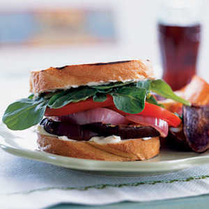 Grilled Eggplant Sandwiches with Red Onion and AioliRecipe