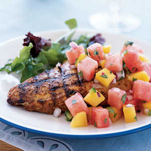 <p>Marinated Grilled Chicken Breast with Watermelon-Jalapeno Salsa</p>