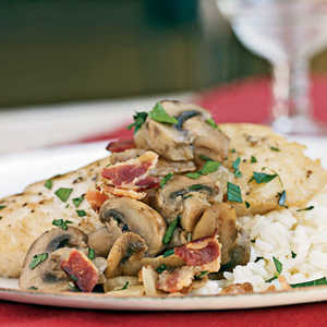 Braised Halibut with Bacon and MushroomsRecipe