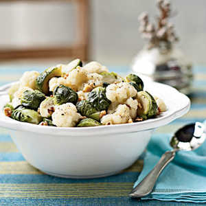 Steamed Brussels Sprouts and Cauliflower with WalnutsRecipe